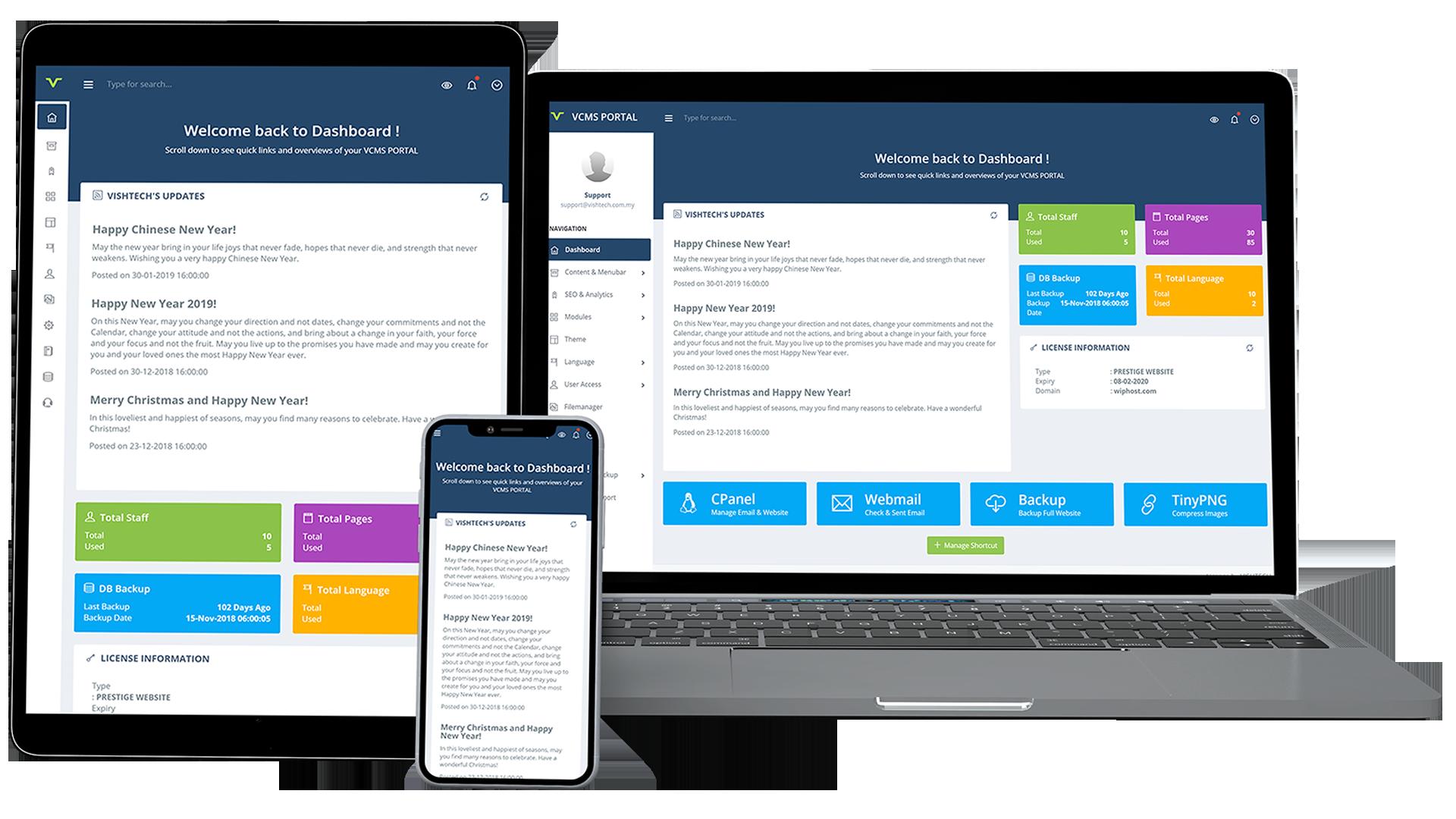 VCMS PORTAL - VISHTECH Content Management System